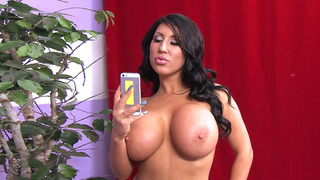 Angelica Taylor gets her big silicone tits licked thumb