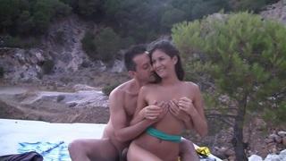 Agnessa in nude beach porn vid with sexy cutie nessa thumb