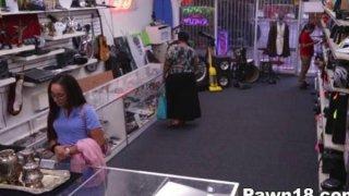 Amateur Giving Blowjob at the Pawnshop thumb