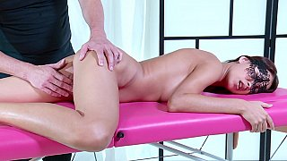 Masked rogue fingered on_the massage table thumb
