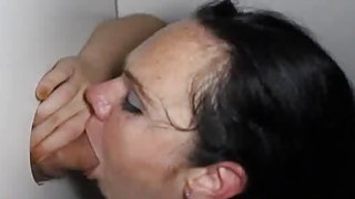 Short Freckle Skank Sucking Dick in Glory Hole thumb