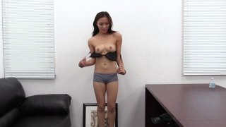 Pretty Asian lady rubs and toys her juicy cunt solo thumb