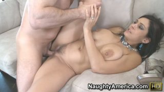 Tatted Raylene with hairy pussy fucking on a white couch as a real bad girl thumb
