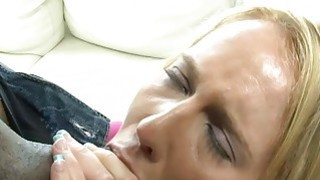 Hot blonde slut takes big black cocks in her fuckholes thumb