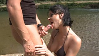Brunette's lakeside lust thumb