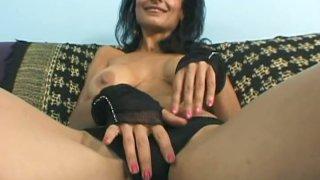 Skillful busty brunette MILF Persia Pele rubs and sucks big shaved cock thumb