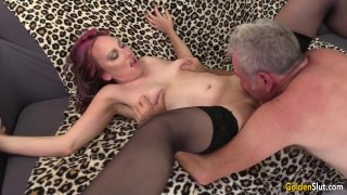 Older Floozy Zoe Matthews Has a Thick Cock Pushed in Her Mouth and Cunt thumb