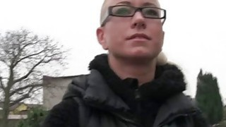 Czech amateur blonde with glasses banged in public thumb