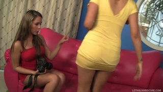 Fabulous babes Penelope Tyler and Ella Milano undress each other thumb