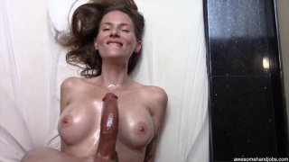 Beautiful MILF sucks and titty-fucks her black lovers monster cock thumb