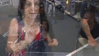 A sexy latin chick bangs at the back office for some cold cash thumb