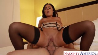 Attractive pornstar babe Gianna Nicole rides cock reverse cowgirl style thumb