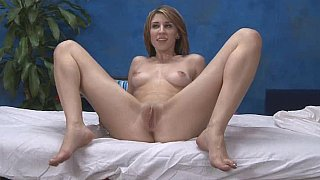Young skinny girl massaging by sliding on a cock thumb