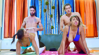 Abella Danger and Cassidy Banks getting fucked by two yoga instructors thumb