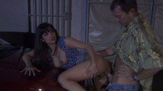 Street bitch Carmen Hart gets her pussy fucked on the car hood thumb