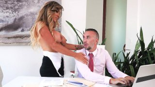 Aubrey Black gets her throat and big boobs fucked by Keiran thumb