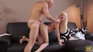 Busty blonde bimbo gets doggy styled by a mature pervert thumb