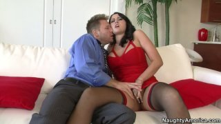Horny brunette babe Alexis Grace gets seduced by witty guy thumb
