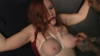 Cuddly tits of red-haired slut Julie Simone get poked with spike thumb