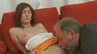 Juvenile sweetie enjoys rear fuck with old stud thumb