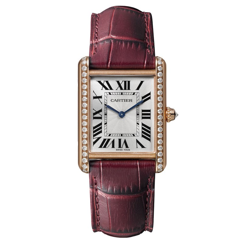 Cartier WJTA0014 Tank Louis Women s Watch   WatchMaxx com Cartier Tank Louis Large Diamond Pink Gold Burgundy Leather Women s Watch  WJTA0014