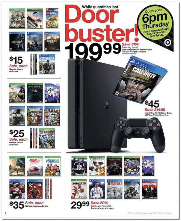 Target Black Friday Sales Includes PS4Xbox One For Under 200