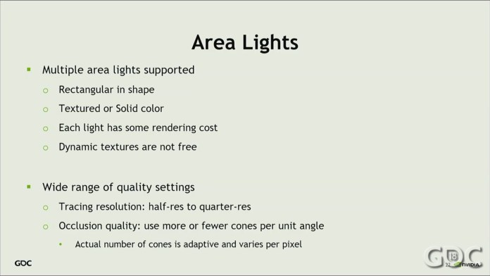 This image is about the Area Lights. Each light has some rendering cost and dynamic textures are not free.