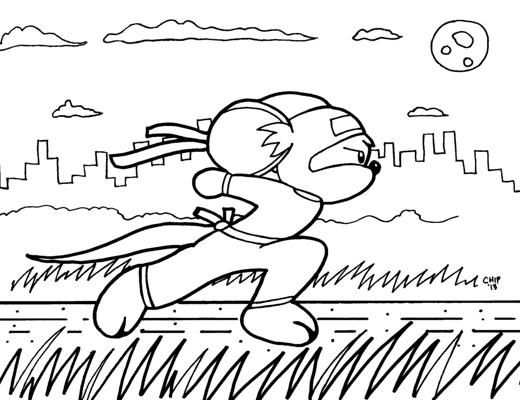 Coloring Book Page 3 Ninja Mouse