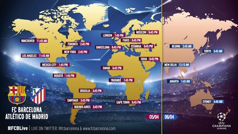 A qué hora juega Barcelona vs Atlético de Madrid y qué canal lo pasa. Cuartos de final de Champions 2016 - horario-barcelona-vs-atletico-madrid-en-champions-league-2016