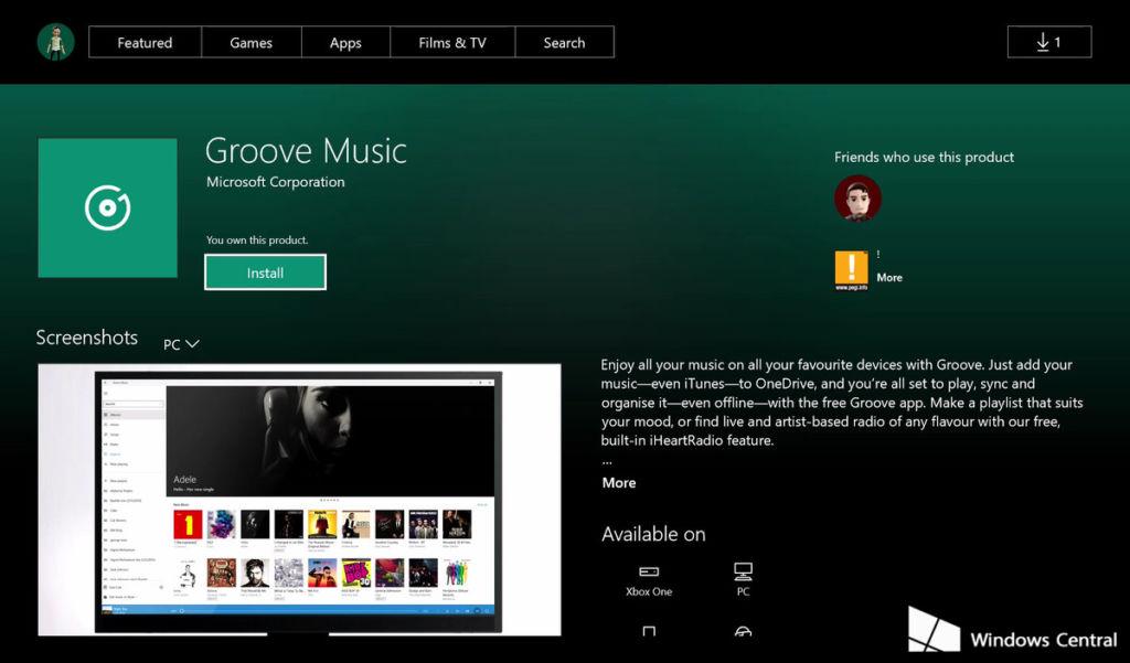 groove xbox store uwp Aparecen las primeras aplicaciones universales para Xbox One