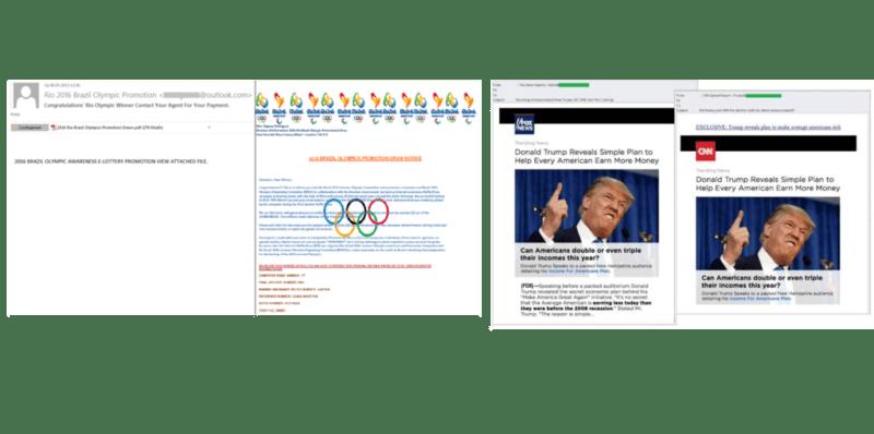 Temas más utilizados como gancho de spam:Donald Trump y Juegos Olimpicos - donald-trump-y-los-juegos-olimpicos-spam-800x398