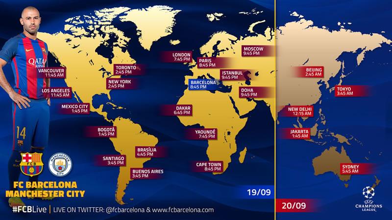A qué hora juega Barcelona vs Manchester City y canales que los transmiten - horario-barcelona-vs-manchester-city-champions-2016