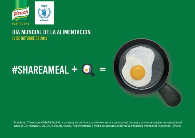 Se parte del movimiento global tuiteando #ShareAMeal +emoji de comida y dona al banco mundial de alimentos - shareameal-800x569