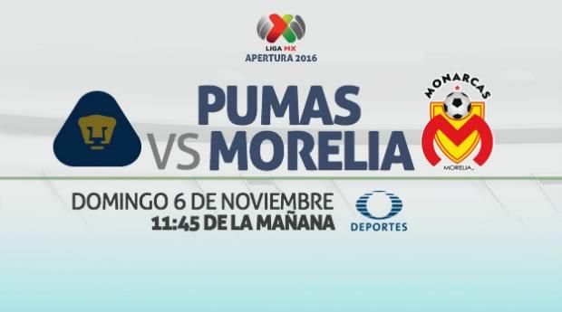 Pumas vs Morelia, Jornada 16 Apertura 2016   Resultado: 1-1 - pumas-vs-monarcas-morelia-internet-apertura-2016