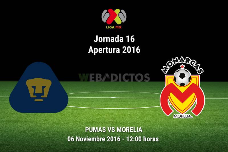 Pumas vs Morelia, Jornada 16 Apertura 2016   Resultado: 1-1 - pumas-vs-morelia-apertura-2016