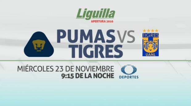 Pumas vs Tigres, ida de la Liguilla A2016   Resultado: 2-2 - pumas-vs-tigres-liguilla-apertura-2016-televisa