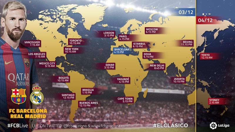 A qué hora juega Barcelona vs Real Madrid y en qué canal, J14 de La Liga 2016/17 - horarios-barcelona-vs-real-madrid-2016-2017-j14