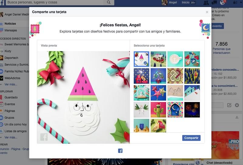 tarjetas navidad y ano nuevo facebook Manda tarjetas de navidad y año nuevo desde Facebook