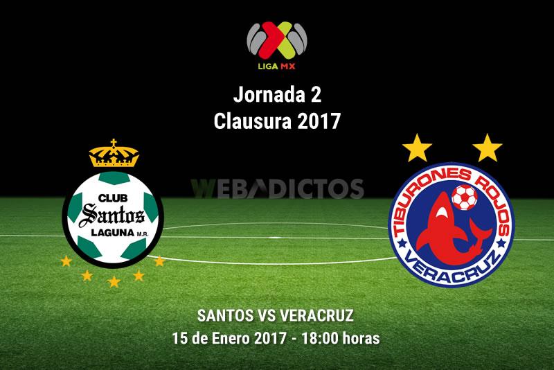Santos vs Veracruz, Jornada 2 del Clausura 2017   Resultado: 2-1 - santos-vs-veracruz-j2-clausura-2017