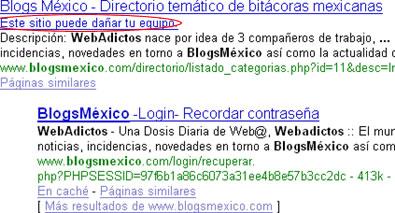¿BlogsMexico Puede Dañar Mi Equipo?... o Simplemente a Google no le cae bien BlogsMexico - blogsmexico_google_2