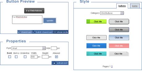 Crear botones web en linea con Buttonator - botones-web