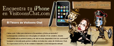 Gana un iPhone 3G en la búsqueda del Tesoro de Visitoons Chat - sorteo-iphone-3g