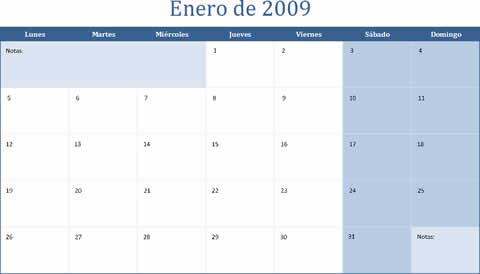 calendario 2009 excel Calendario 2009 para imprimir en Excel
