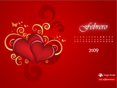 calendario de febrero frogx3 Calendario de Febrero 2009, wallpapers del mes