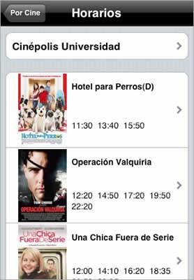 Cartelera de cine en iPhone con Cinefilo - cartelera-cine-mexico