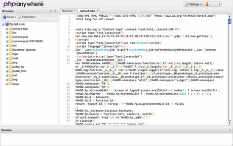 Editor de php online, PHPanywhere - editor-php