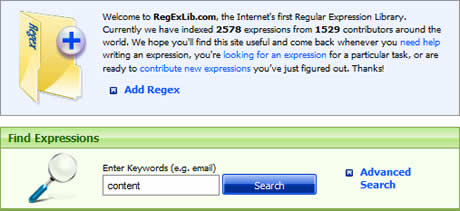 expresiones regulares Expresiones regulares, encuentralas en RegexLib