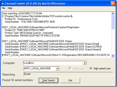 """Resultados LicenseCrawler Recupera Los Seriales De Tus Programas Instalados Con """"LicenseCrawler"""""""