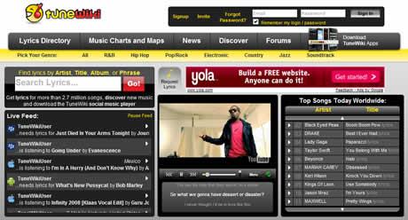 Escuchar musica y ver lyrics enTuneWiki - musica-online