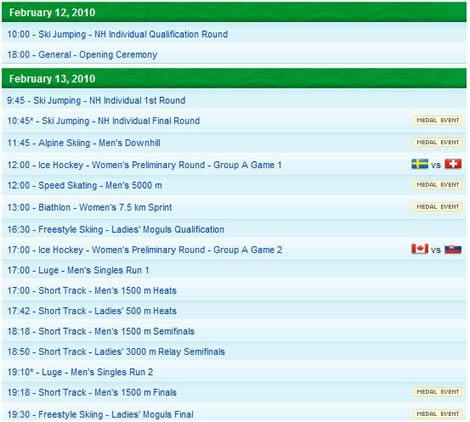 Vancouver 2010, calendario y medallero olimpico - vancouver-2010-calendario
